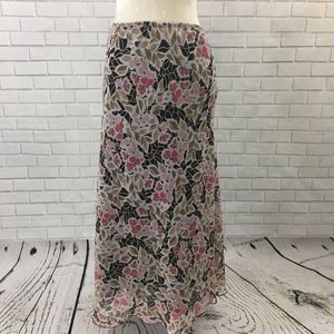 Brown and Pink Floral Maxi Skirt